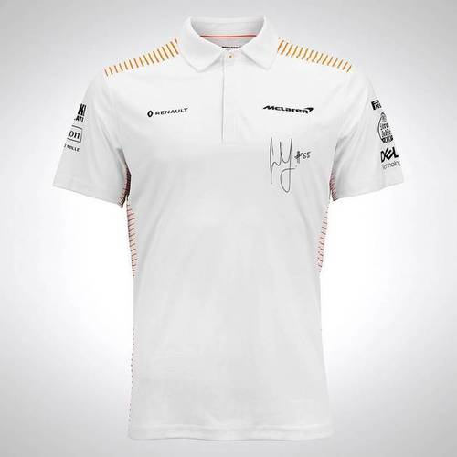 Photo of Carlos Sainz 2020 Signed McLaren Polo Shirt