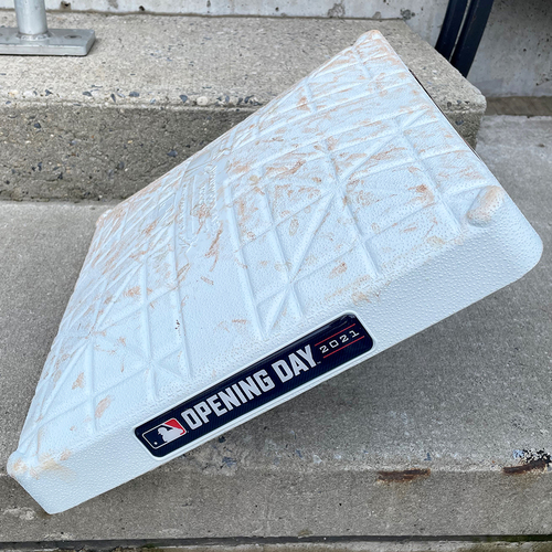 Photo of Game Used Base - 1st Base, Innings 7-9 - 2021 Home Opener - McNeil Game-Tying HR in 9th, Conforto Walk-Off HBP - Mets vs. Marlins - 4/8/21