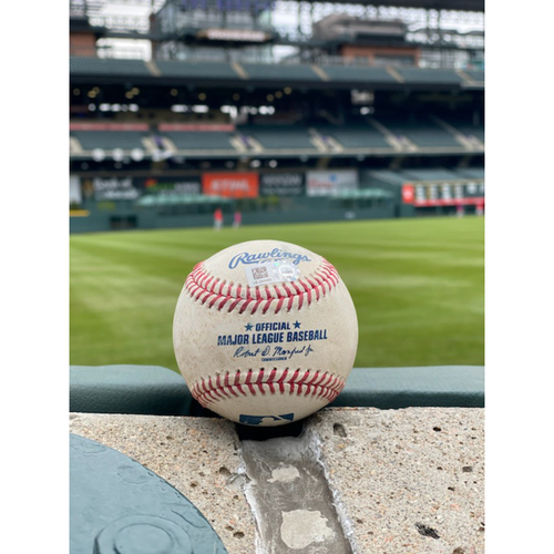 Photo of Game-Used Baseball - Pitcher: German Marquez, Batter: J.T. Realmuto (Triple (1) to Charlie Blackmon) - April 23, 2021