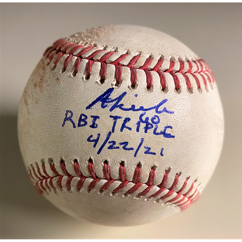 """Photo of Baddoo Exclusive! Autographed Game-Used Baseball:  Akil Baddoo RBI Triple (4/22/21) Autographed with Inscription """"RBI Triple 4/22/21"""" (MLB AUTHENTICATED)"""