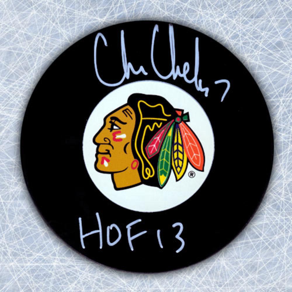 CHRIS CHELIOS Autographed Chicago Blackhawks Hockey Puck w HOF note