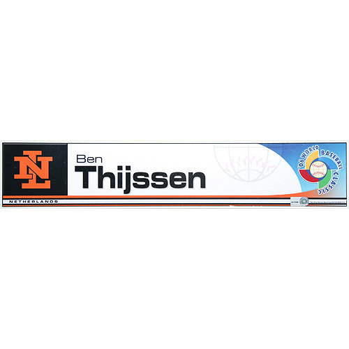 Photo of 2006 Inaugural World Baseball Classic: Ben Thijssen Locker Tag (NED) Game-Used Locker Name Plate