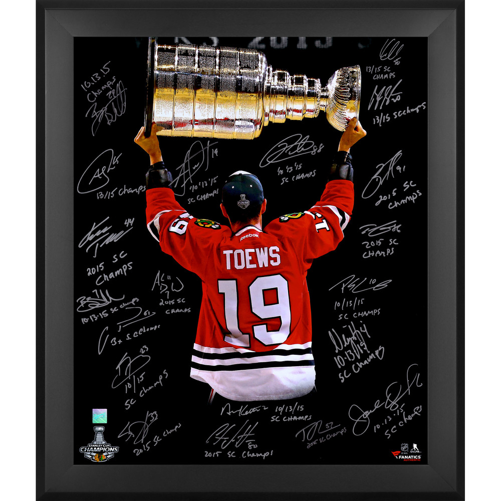 Chicago Blackhawks 2015 Stanley Cup Champions Framed Autographed 20'' x 24'' Toews Back Shot Spotlight Photograph with 20 Signatures and Multiple Inscriptions - Limited Edition 19
