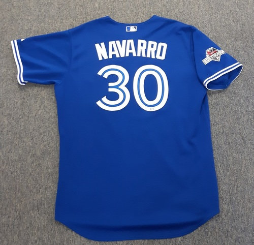 Photo of Authenticated Game Used Postseason Jersey - #30 Dioner Navarro (October 23, 2015: ALCS Game 6). Navarro went 0-for-1. Size 50.