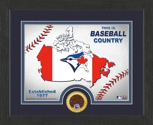 Photo of Blue Jays Authentics - Framed Baseball Country with Game Used Dirt (9x11)