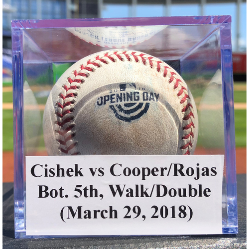 Photo of Game-Used Baseball: Steve Cishek vs Garrett Cooper/Miguel Rojas, Bot. 5th, Walk/Double (Opening Day)