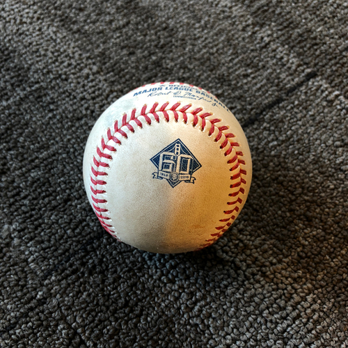 Photo of Buster Posey 6x ALL-STAR - 2018 Game-Used Baseball - 6/21 vs. San Diego Padres - RBI Single to LF (Hanson Scores)