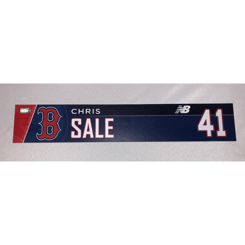 Photo of Chris Sale June 10, 2018 Game-Used Locker Tag