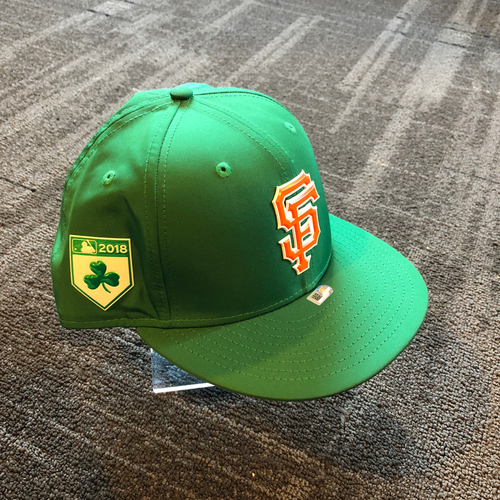 Photo of San Francisco Giants - 2018 Team Issued Spring Training Cap - St. Patrick's Day - Johnny Cueto - Size 8