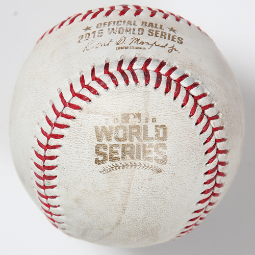Photo of Game-Used Baseball: 2016 World Series Game 4 - Cleveland Indians at Chicago Cubs - Batter: Francisco Lindor, Pitcher: Hector Rondon - Top of 9, Single