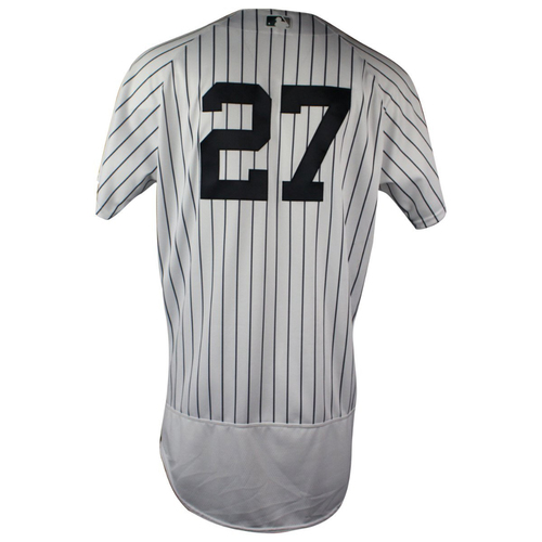 Photo of Giancarlo Stanton New York Yankees 2018 Home Game Used #27 Pinstripe Jersey (6/21/2018)  (0-4)