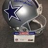 HOF - Cowboys Roger Staubach signed Cowboys proline helmet w/ Captain America inscription