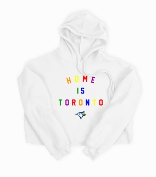 Toronto Blue Jays Women's Home Is Toronto Pride White Cropped Hoodie by Peace Collective