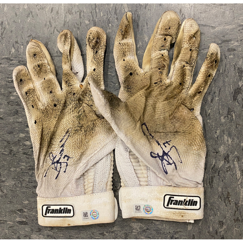 Photo of 2019 Holiday Sale - 2019 Autographed Batting Gloves signed by #7 Donovan Solano - White Franklin Batting Gloves