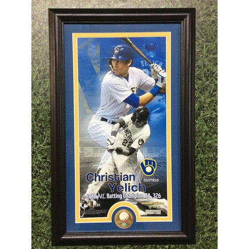 "Photo of Christian Yelich Commemorative ""2018 NL Batting Champion"" Framed Piece with Game-Used Baseball Swatch - Limited Edition #22 / 36"