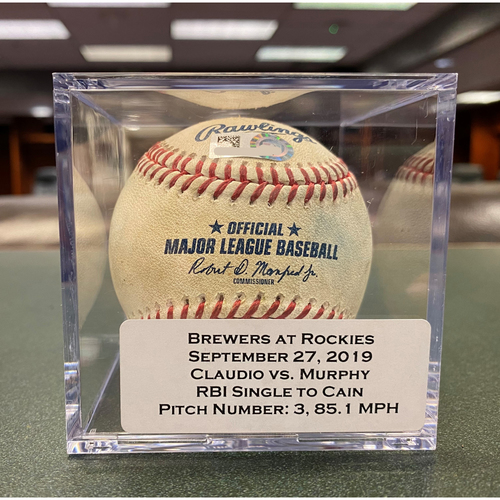Photo of Colorado Rockies Game-Used Baseball - Pitcher: Alex Claudio, Batter: Daniel Murphy (RBI Single to Lorenzo Cain, Nolan Arenado scored) - September 27, 2019 vs Milwaukee Brewers