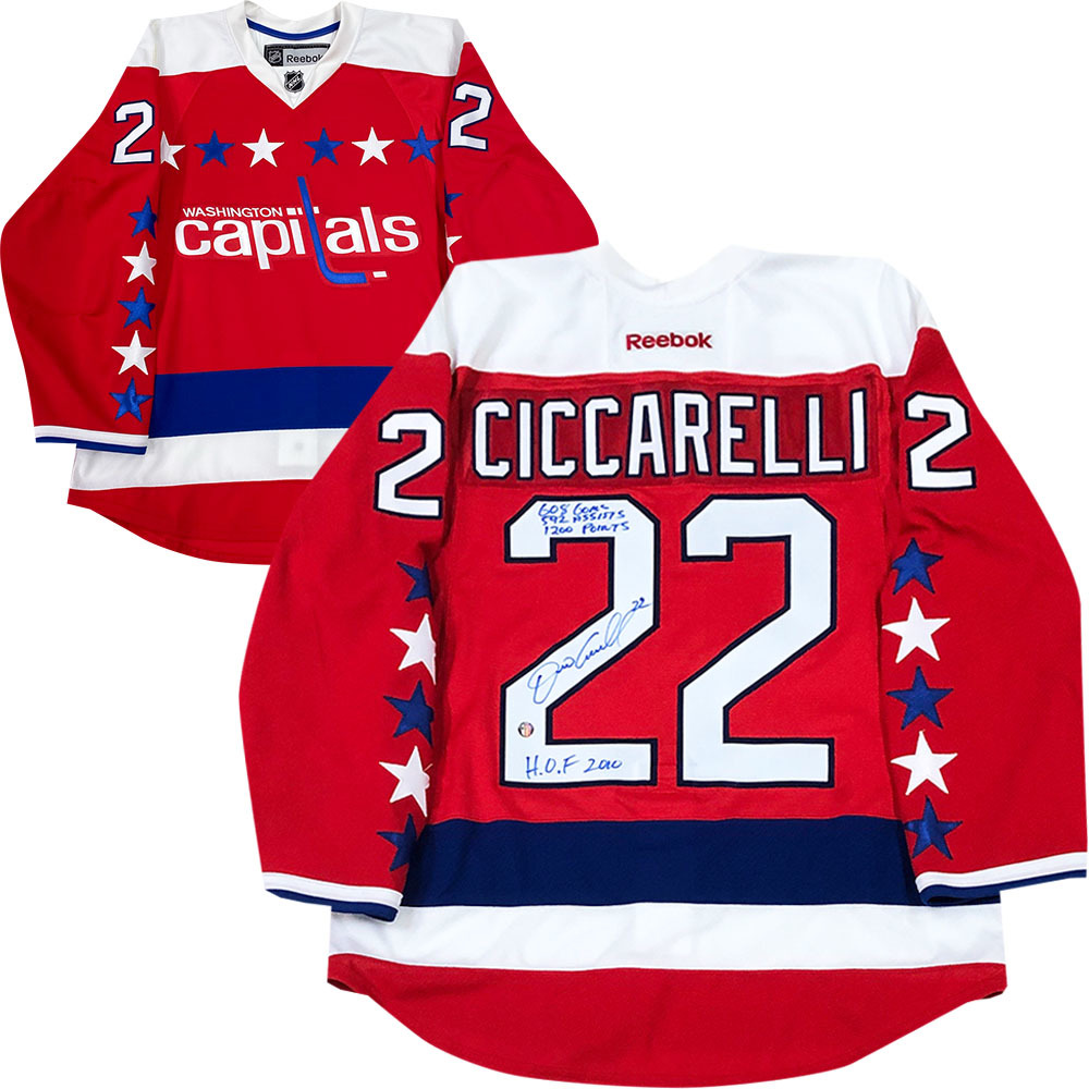 Dino Ciccarelli Autographed Detroit Red Wings Reebok Pro Jersey w/Career Stats Inscription