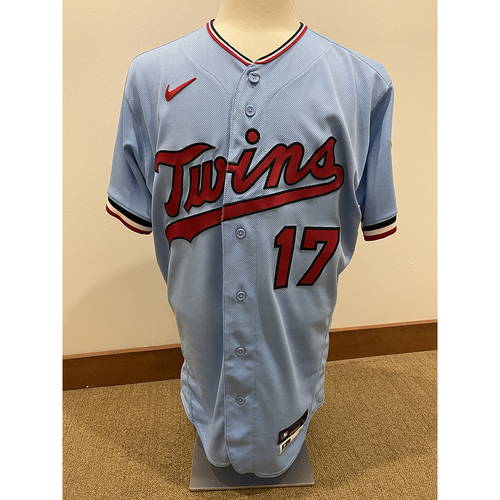 Photo of Minnesota Twins: 2021 Game-Used Home Powder Blue Jersey - Jose Berrios worn for last Twins start on 7/24/2021 innings 1-5