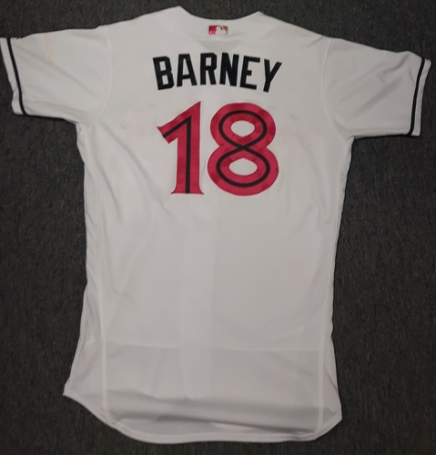 Photo of Authenticated Game Used Mother's Day Jersey (May 14, 2017) - #18 Darwin Barney. Barney went 0-for-4 with 2 strikeouts. Size 44