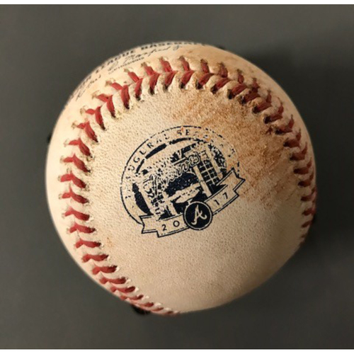 Giancarlo Stanton Game-Used Hit Single Baseball - September 7, 2017