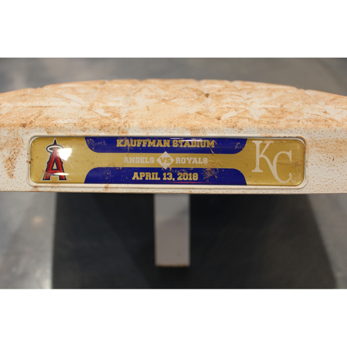 Photo of Game-Used Base: Shohei Ohtani 1st MLB Career Double Base (2nd Base - Innings 1 thru 5 - LAA at KC - 4/13/18)