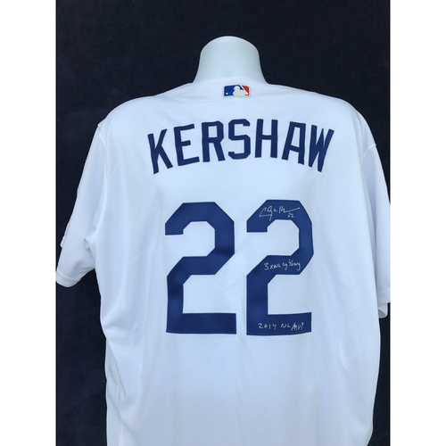"Photo of Mauer & Friends Kids Classic Charity Auction: Clayton Kershaw Autographed Jersey Inscribed ""3 time NL Cy Young, 2014 NL MVP"" - Not MLB Authenticated"