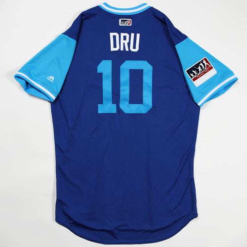 "Photo of Brandon ""Dru"" Drury Toronto Blue Jays Team Issued Jersey 2018 Players' Weekend Jersey"