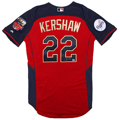 Clayton Kershaw 2014 Major League Baseball Workout Day Home Run Derby Autographed  Jersey c12df1323e7