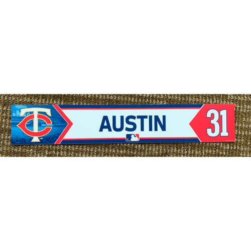 Photo of 2018 Game-Used Tyler Austin Minnesota Twins Lockertag