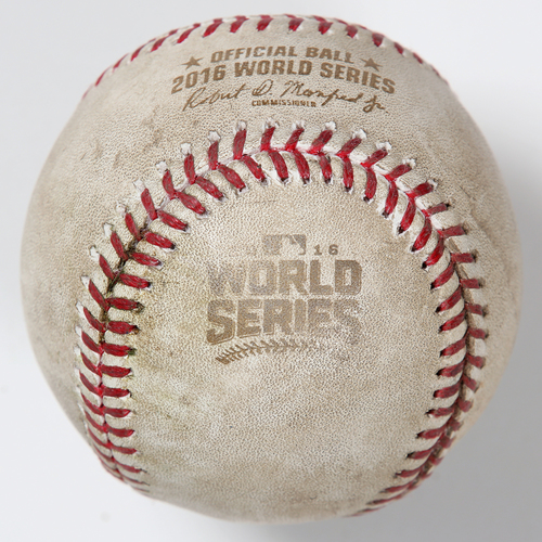 Photo of Game-Used Baseball: 2016 World Series Game 3 - Cleveland Indians at Chicago Cubs - Batter: Jose Ramirez, Pitcher: Kyle Hendricks - Top of 4, Single