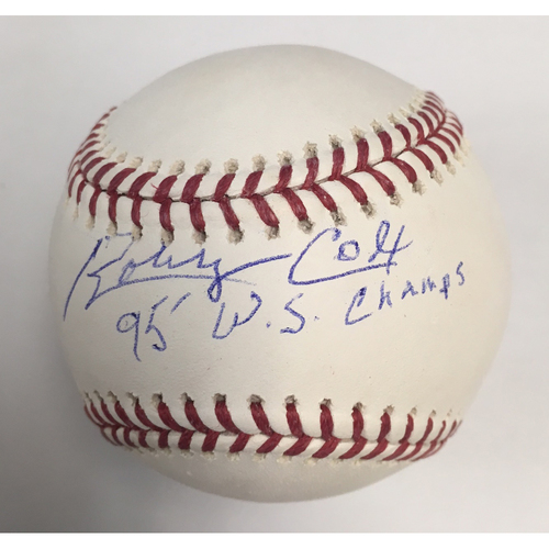 "Photo of Bobby Cox ""95 WS Champs"" Autographed Baseball"