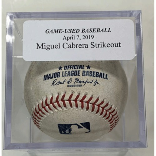 Photo of Game-Used Baseball: Miguel Cabrera Strikeout