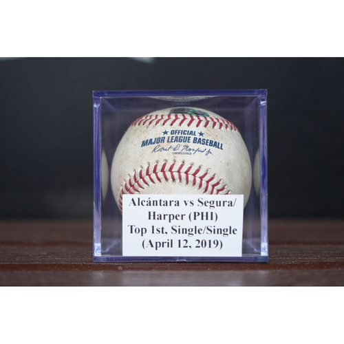Photo of Game-Used Baseball: Jean Segura & Bryce Harper - Back to Back Singles (April 12, 2019) *Jake Arrieta's 100th Career Win Game*
