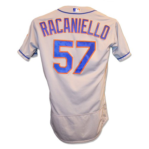 Photo of Dave Racaniello #57 - Game Used Road Grey Jersey - Mets vs. Nationals - 9/21/18