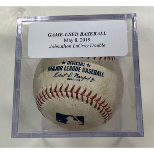 Photo of Game-Used Baseball: Johnathan Lucroy Double