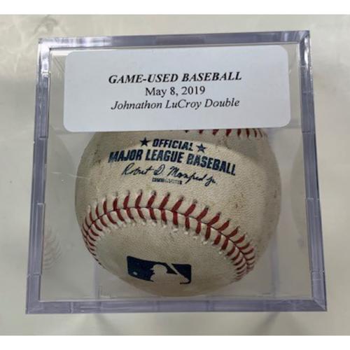 Photo of Game-Used Baseball: Johnathan Lucroy Double