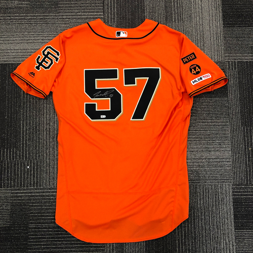Photo of 2019 Team Issued Autographed Orange Alternate Home Jersey - #57 Dereck Rodriguez - Size 46