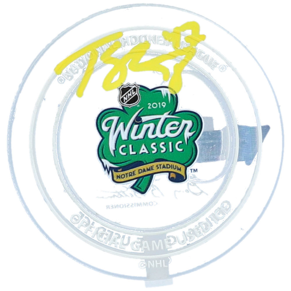 Torey Krug Boston Bruins Autographed 2019 Winter Classic Crystal Puck - Filled with Ice from the 2019 Winter Classic