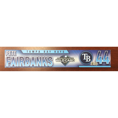 Photo of Game Used Wild Card Locker Tag: Pete Fairbanks - October 2, 2019 at OAK