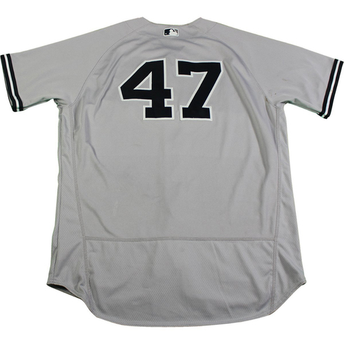 Photo of Jordan Montgomery New York Yankees 2017 Game-Used #47 Grey Jersey (6/15/2017) (Size 48)