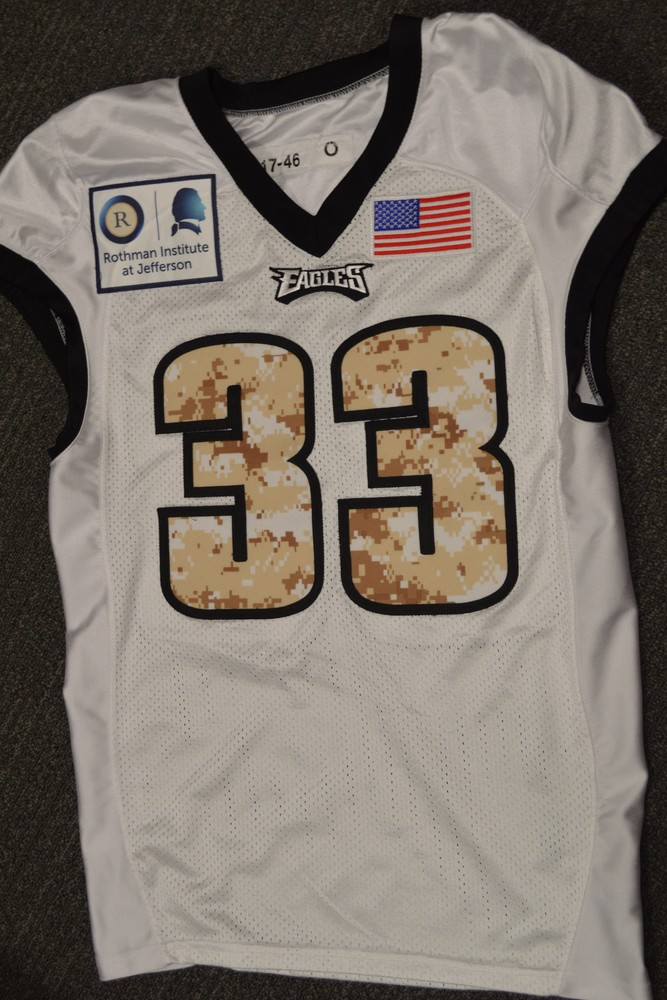 EAGLES - DEXTER MCDOUGAL SALUTE TO SERVICE SIGNED PRACTICE WORN JERSEY NOVEMBER 2017 WITH CAMO NUMBERS