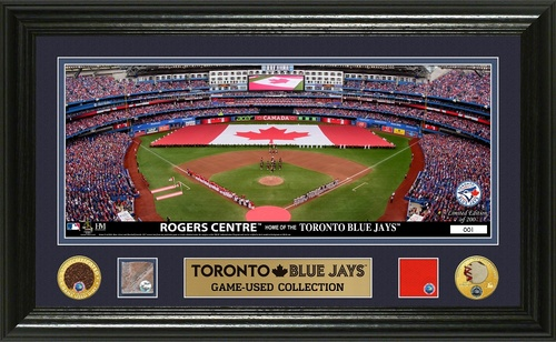 Photo of Blue Jays Authentics - Framed Stadium Photo with Pieces of Jersey, Dirt, Base and Baseball (12x20)