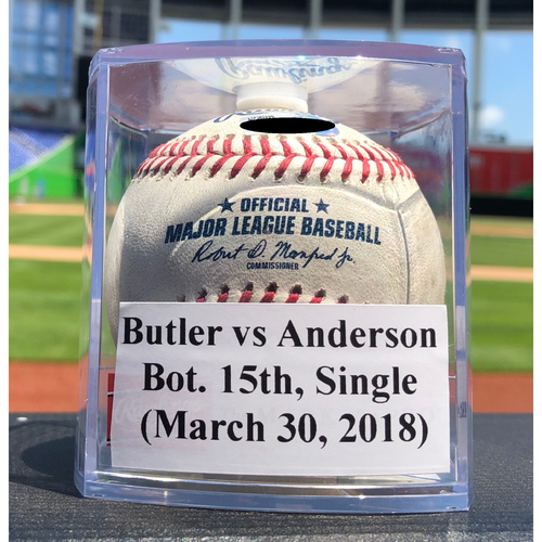 Photo of Game-Used Baseball: Eddie Butler vs Brian Anderson, Bot. 15th, Single *Longest Inning Game at Marlins Park*