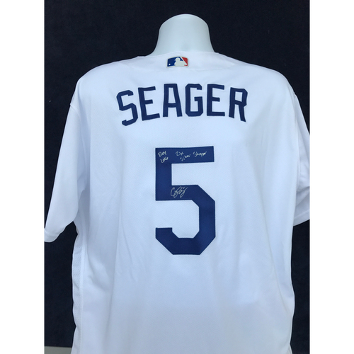 "Photo of Mauer & Friends Kids Classic Charity Auction: Corey Seager Autographed Jersey Inscribed ""2016 ROY, 2 time Silver Slugger"" - Not MLB Authenticated"