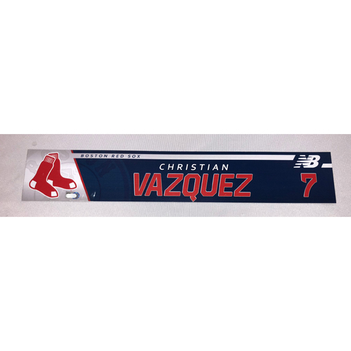 Photo of Christian Vazquez April 13, 2017 Game-Used Locker Tag