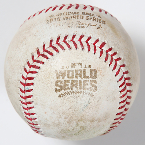 Photo of Game-Used Baseball: 2016 World Series Game 4 - Cleveland Indians at Chicago Cubs - Batter: Corey Kluber, Pitcher: John Lackey - Top of 2, Single