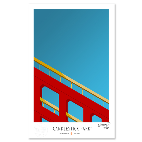 Photo of Candlestick Park - Collector's Edition Minimalist Art Print by S. Preston #119/350  - San Francisco Giants