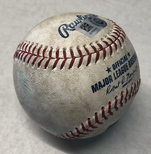 Photo of Game-Used Baseball -- Julio Teheran to Willson Contreras, 16th Home Run, Launch Speed 101 MPH, Bot 2 -- Braves vs. Cubs -- 6/24/19