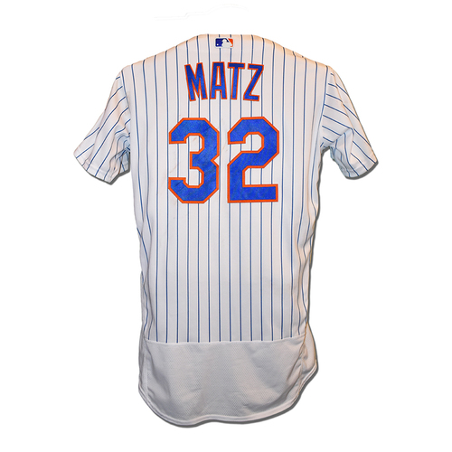 Steven Matz #32 - Game Used White Pinstripe Jersey - First Career Complete Game Shutout - 9 IP, 0 ER, 7 K's, Earns 6th Win of 2019 - Mets vs. Pirates - 7/27/2019