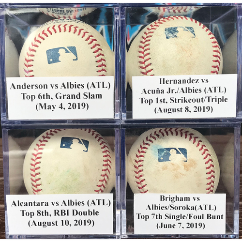 Photo of Game-Used Baseballs: Ozzie Albies Grand Slam, Triple, Double & Single